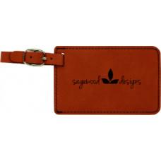 "Leatherette Luggage Tab in Rawhide (4"" x 2 3/4"")"