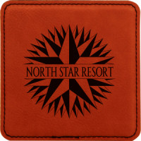 """Leatherette Square Coaster in Rawhide (4"""" x 4"""")"""