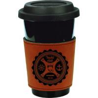 """Leatherette Mug Sleev in Rawhide (3"""")"""