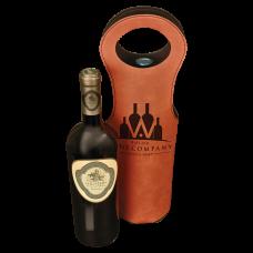 "Leatherette Wine Bag in Rawhide (5 1/2"" x 14 1/2"")"