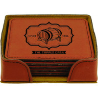"""Leatherette Round Coaster Set in Rawhide (4"""" x 4"""")"""