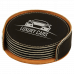"""Leatherette Round 6-Coaster Set in Black/Silver (4"""")"""