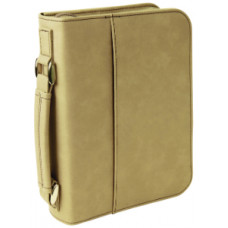 "Book/Bible Cover with Handle & Zipper in Light Brown (6 3/4"" x 9 1/4"")"