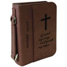 "Book/Bible Cover with Handle & Zipper in Dark Brown (6 3/4"" x 9 1/4"")"