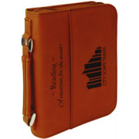 "Book/Bible Cover with Handle & Zipper in Rawhide (6 3/4"" x 9 1/4"")"