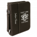"Leatherette Book/Bible Cover with Handle & Zipper in Black/Silver (6 3/4"" x 9 1/4"")"