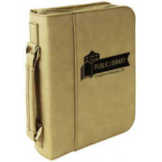 "Book/Bible Cover with Handle & Zipper in Light Brown (7 1/2"" x 10 3/4"")"