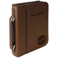 "Book/Bible Cover with Handle & Zipper in Dark Brown (7 1/2"" x 10 3/4"")"