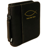 "Book/Bible Cover with Handle & Zipper in Black (7 1/2"" x 10 3/4"")"