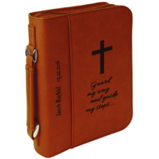 "Book/Bible Cover with Handle & Zipper in Rawhide (7 1/2"" x 10 3/4"")"