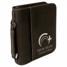 """Leatherette Book/Bible Cover with Handle & Zipper in Black/Silver (7 1/2"""" x 10 3/4"""")"""