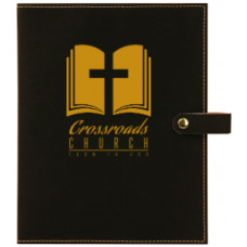 "Book/Bible Cover with Snap Closer in Black (6 1/2"" x 8 3/4"")"