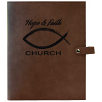 "Book/Bible Cover with Snap Closer in Dark Brown (8 3/4"" x 11"")"