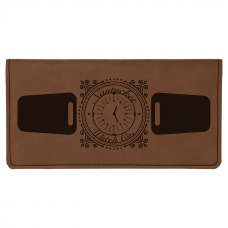 "Leatherette Checkbook Cover in Dark Brown (6 3/4"" x 3 1/2"")"