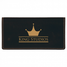 """Leatherette Checkbook Cover in Black/Gold (6 3/4"""" x 3 1/2"""")"""