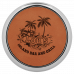 """Leatherette Round Coaster in Rawhide with Silver Edge (3 5/8"""")"""