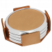"Leatherette Round 4-Coaster Set in Light Brown with Silver Edge (3 5/8"")"