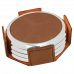 """Leatherette Round 4-Coaster Set in Dark Brown with Silver Edge (3 5/8"""")"""