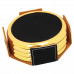 """Leatherette Round 4-Coaster Set in Black/Gold with Silver Edge (3 5/8"""")"""