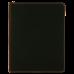 "Leatherette Portfolio in Black/Gold w/ Zipper & Notepad (9 1/2"" x 12"")"
