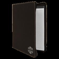 "Leatherette Portfolio in Black/Silver w/ Zipper & Notepad (9 1/2"" x 12"")"