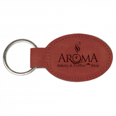 """Leatherette Oval Keychain in Rose (3"""" x 1 3/4"""")"""