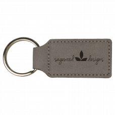 """Leatherette Rectangle Keychain in Gray (2 3/4"""" x 1 1/4"""")"""