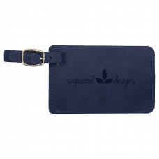 """Leatherette Luggage Tag in Blue (4 1/4"""" x 2 3/4"""")"""
