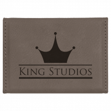 """Leatherette Hard Business Card Holder in Gray (3 3/4"""" x 2 3/4"""")"""