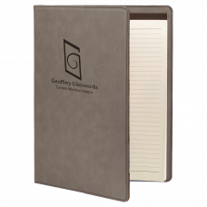 """Leatherette Mini Portfolio in Gray with Notepad (7"""" x 9"""")"""