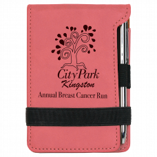 """Leatherette Notepad in Pink with Pen (3 1/4"""" x 4 3/4"""")"""