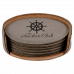 """Leatherette Round 6-Coaster Set in Gray (4"""")"""