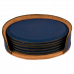 "Leatherette Round 6-Coaster Set in Blue (4"")"