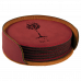 "Leatherette Round 6-Coaster Set in Rose (4"")"