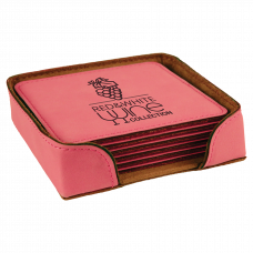 """Leatherette Square 6-Coaster Set in Pink (4"""" x 4"""")"""