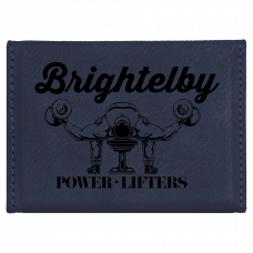 """Leatherette Hard Business Card Holder In Blue (3 3/4"""" x 2 3/4"""")"""