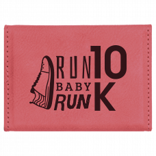 """Leatherette Hard Business Card Holder In Pink (3 3/4"""" x 2 3/4"""")"""