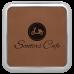 """Leatherette Square Coaster in Dark Brown w/ Silver Edge (3 5/8"""" x 3 5/8"""")"""