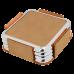 "Leatherette Square 4-Coaster Set in Light Brown w/ Silver Edge (3 5/8"" x 3 5/8"")"