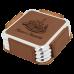 """Leatherette Square 4-Coaster Set in Dark Brown w/ Silver Edge (3 5/8"""" x 3 5/8"""")"""