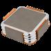 """Leatherette Square 4-Coaster Set in Gray w/ Silver Edge (3 5/8"""" x 3 5/8"""")"""