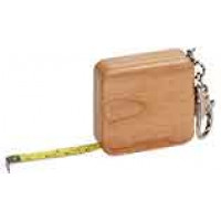 Square Wooden Tape Measure Keychain in Maple