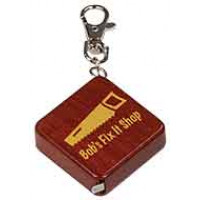 Square Wooden Tape Measure Keychain in Rosewood
