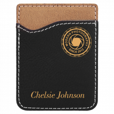 Leatherette Phone Wallet in Black/Gold