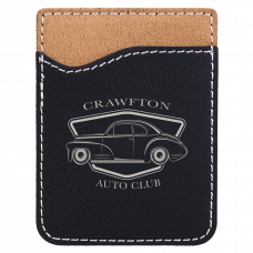 Leatherette Phone Wallet in Black/Silver