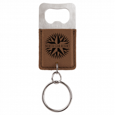 Leatherette Rectangle Bottle Opener Keychain in Dark Brown