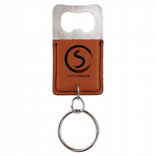 Leatherette Rectangle Bottle Opener Keychain in Rawhide Brown