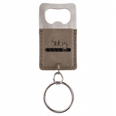 Leatherette Rectangle Bottle Opener Keychain in Gray Brown