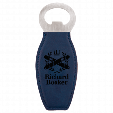 Leatherette Bottle Opener in Blue with Magnet