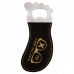 Leatherette Foot Shaped Bottle Opener in Black/Gold with Magnet